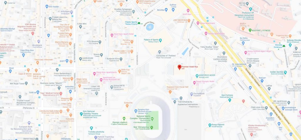 موقعیت هتل روس کی یف