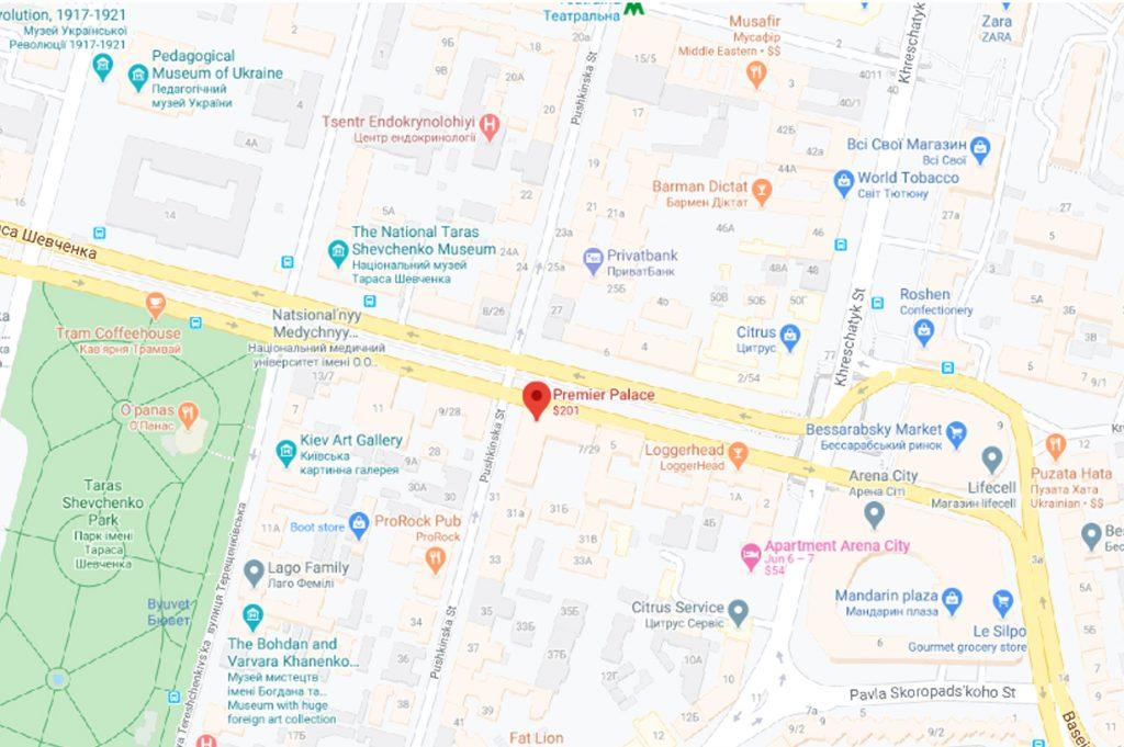نقشه هتل پریمیر پالاس کی یف