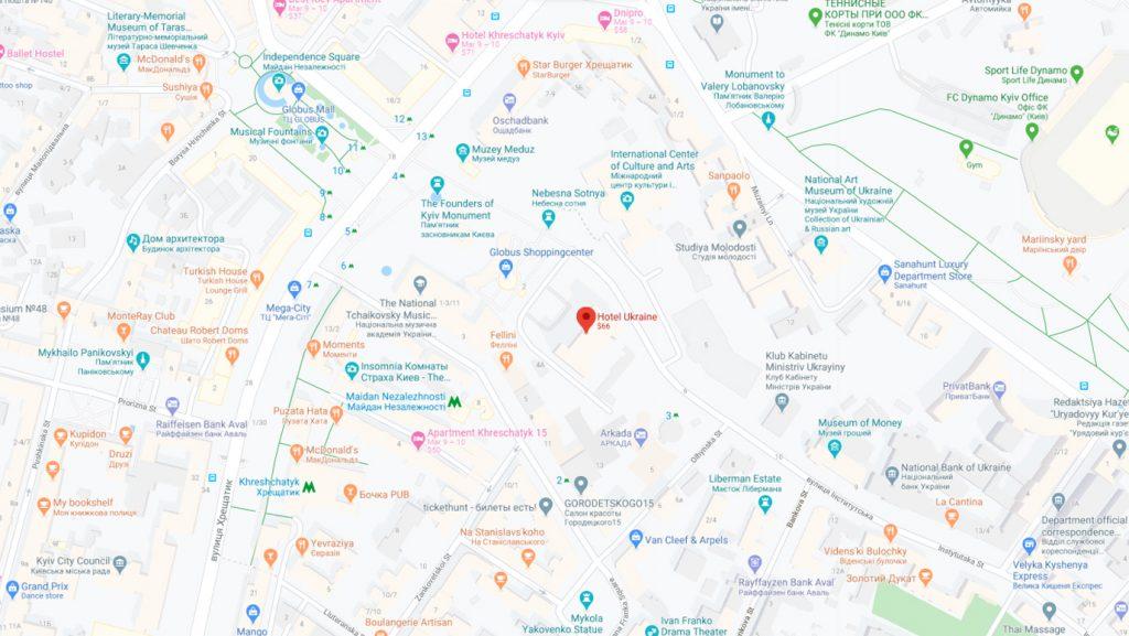 نقشه هتل اوکراین کی یف