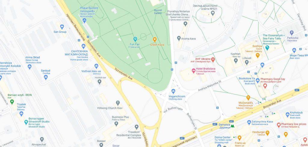 موقعیت مکانی هتل براتیسلاوا کیف اوکراین