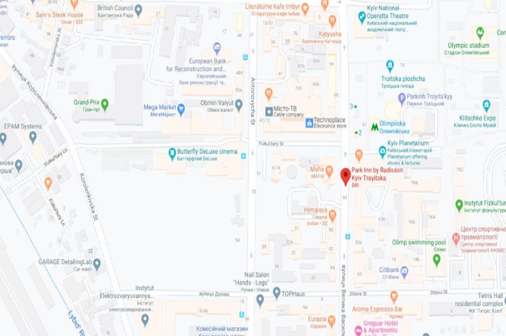 نقشه هتل پارک این کی یف