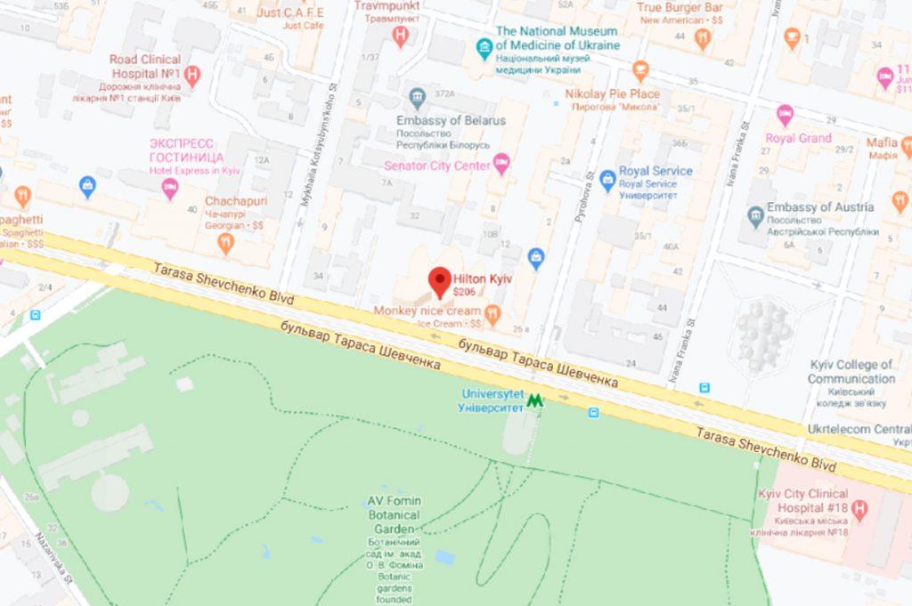 نقشه هتل هیلتون کی یف