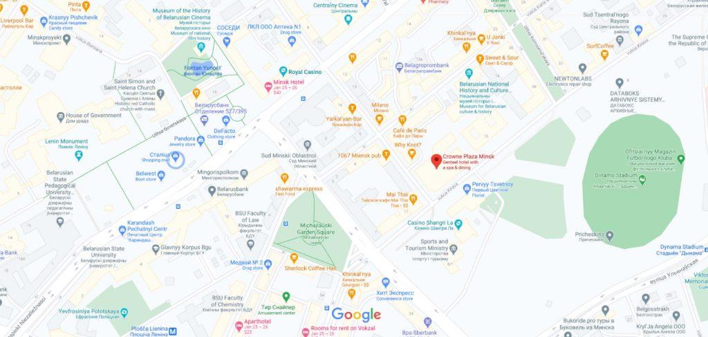 نقشه هتل کرون پلازا مینسک