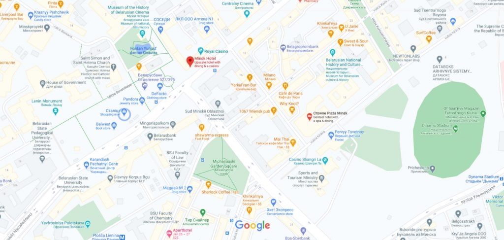 نقشه هتل مینسک بلاروس