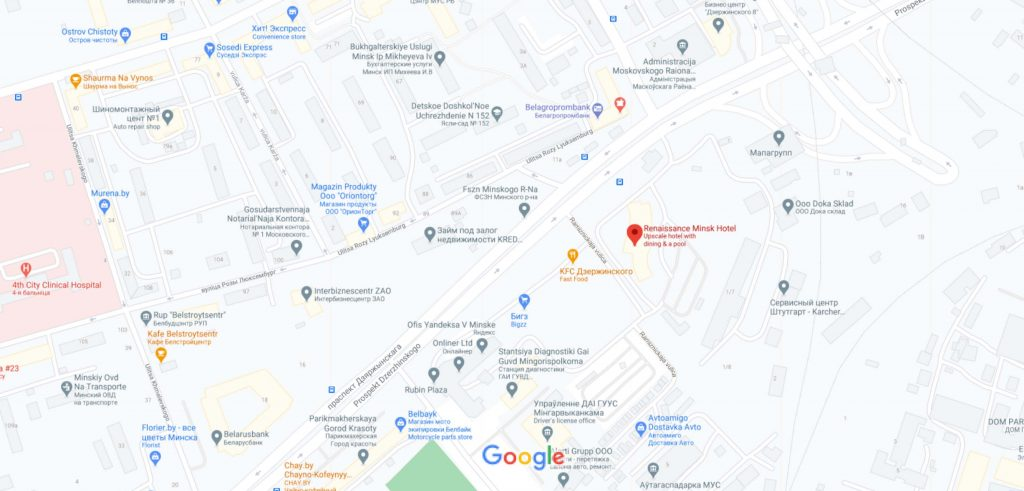 موقعیت هتل رنسانس مینسک