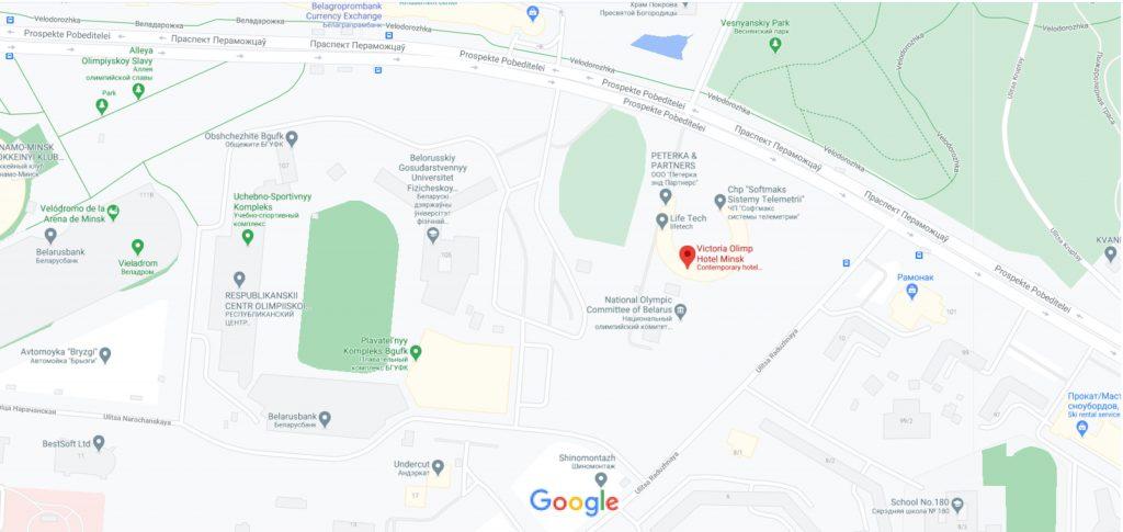موقعیت هتل ویکتوریا الیمپ مینسک